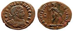 Ancient Coins - CRISPUS AE3 (Centenonial). EF. Rome mint. PRINCIPIA IVVENTVTIS - Wreath.