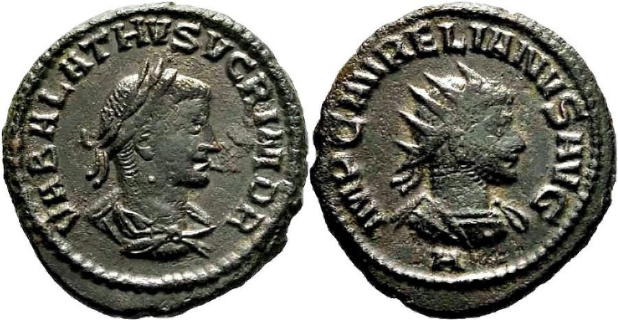Ancient Coins - VABALATHUS and AURELIAN AE Antoninianus. EF-/VF+. Antioch mint.