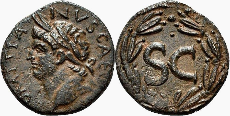 Ancient Coins - DOMITIAN AE21. Antioch (Syria) mint. EF. Bust to left. Wreath - SC.