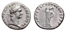 Ancient Coins - DOMITIAN AR Denarius. EF-/VF+. IMP XXI COS XV CENS P P P - Minerva.