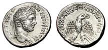 Ancient Coins - CARACALLA AR Tetradrachm. EF. Antioch mint. Eagle over Leg and Thigh. SCARCE and PRECIOUS!