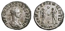 Ancient Coins - PROBUS Bi Antoninianus. EF-. SILVERED. Cyzicus mint. CONCORDIA MILITVM. Scarce type of bust.