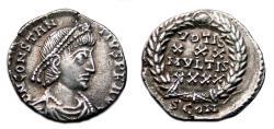 Ancient Coins - CONSTANTIUS II AR Siliqua. EF-/EF. Arelate mint. VOTIS XXX MVLTIS XXXX - Wreath.