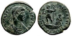 Ancient Coins - CONSTANTIUS II AE2 (Maiorina). EF. Arelate mint. Emperor on Galley.
