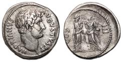 Ancient Coins - HADRIAN AR Cistophorus. Smyrna mint. VF+/EF-. Two Nemeses.