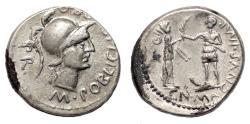 Ancient Coins - POMPEY MAGNUS (by M. Poblicius) AR Denarius. EF-. Hispania and Soldier.