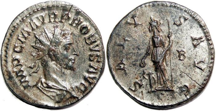 Ancient Coins - PROBUS Bi Antoninianus. EF-/EF. SILVERED. Lugdunum mint. SALVS AVG.