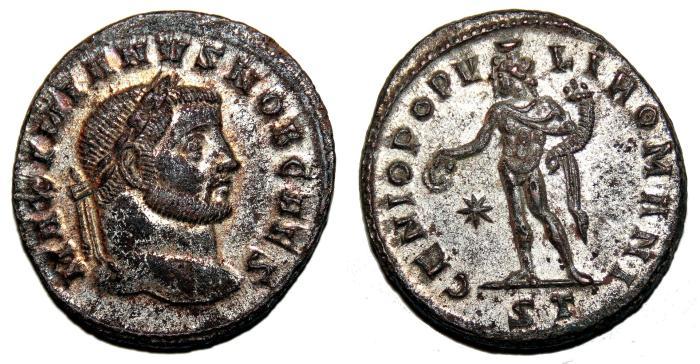 Ancient Coins - GALERIUS MAXIMINANUS Bi Follis. EF-/EF. SILVERED. Ticinum mint.  GENIO POPVLI ROMANI. High quality!