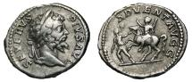 Ancient Coins - SEPTIMIUS SEVERUS AR Denarius. VF+. Emperor riding horse - ADVENT AVGG. Scarce Reverse!