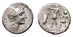 Ancient Coins - P. Porcius Laeca AR Denarius. EF-. Governor and citizens - PROVOCO.
