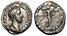 Ancient Coins - COMMODUS AR Denarius. EF-/VF+. Mars holding Spear and Trophy.