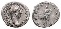 Ancient Coins - HADRIAN AR Denarius. EF/EF-. Aequitas.