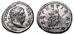 Ancient Coins - CARACALLA AR Denarius. EF-. PROFECTIO AVG.