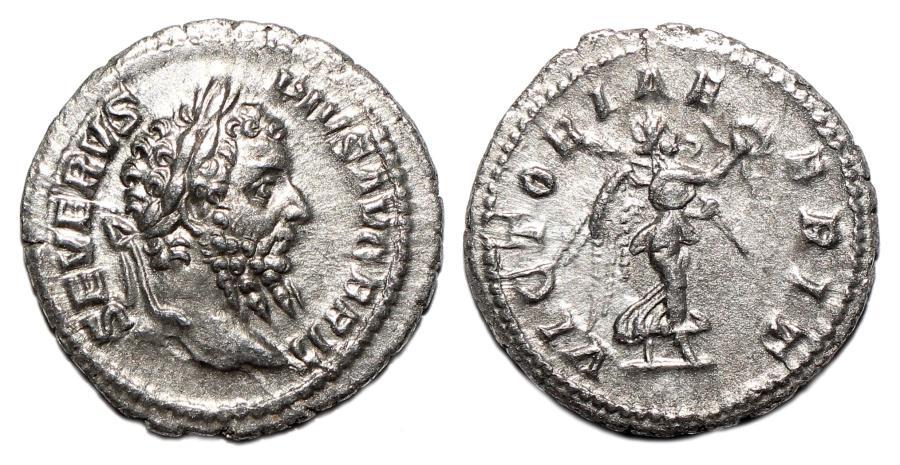 Ancient Coins - SEPTIMIUS SEVERUS AR Denarius. EF. VICTORIAE BRIT.