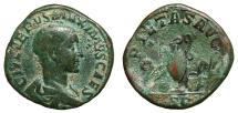 Ancient Coins - MAXIMUS AE Sestertius. VF. Priestly implements - PIETAS AVG. Scarce!