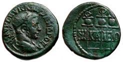 Ancient Coins - NICEA (Bithynia) AE18. Severus Alexander. VF+/EF-. Legionary Standards.