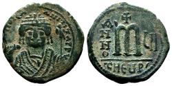 Ancient Coins - MAURICE TIBERIUS AE Follis. VF+/EF-. Antioch mint. Year 6.