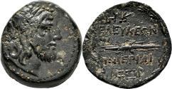 Ancient Coins - SELEUCIA PIERIA AE22. VF/EF-. Time of Alexander I Balas. Zeus - Thunderbolt. Rare!