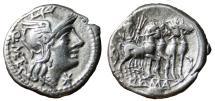 Ancient Coins - GENS CAECILIA. Q. Caecilius Metellus. EF-/VF+. Jupiter in quadriga. Rome mint, 130 B.C.