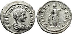 Ancient Coins - GETA AR Denarius. EF. Laodicea ad Mare mint. MINERV SANCT.
