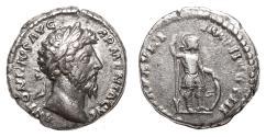 Ancient Coins - MARCUS AURELIUS AR Denarius. EF-/VF+. Mars standing.