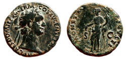 Ancient Coins - DOMITIAN AE As. VF+/VF. MONETA AVGVSTI - COS XV.