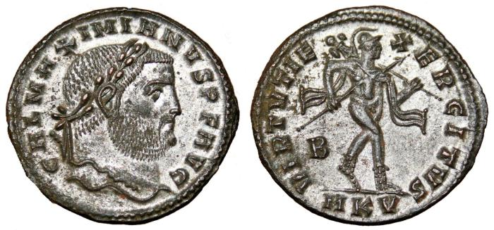Ancient Coins - GALERIUS MAXIMIANUS Bi Follis. EF. SILVERED. Cyzicus mint. VIRTVTI EXERCITVS. Scarce reverse!