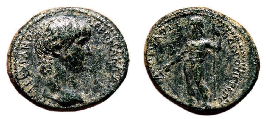 Ancient Coins - NERO AE20. EF. Ancyra (Phrygia). Magistrate Klaudios Artemidoros.