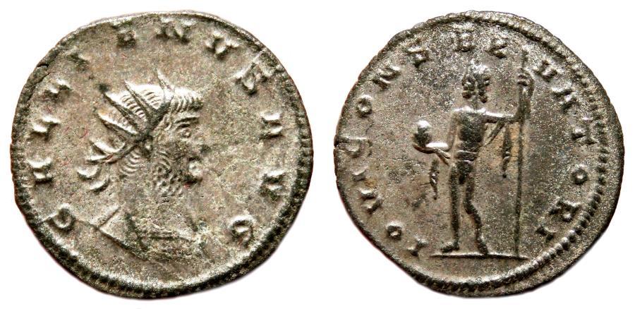 Ancient Coins - GALLIENUS Bi Antoninianus. VF+. SILVERED. Antioch mint. IOVI CONSERVATORI.