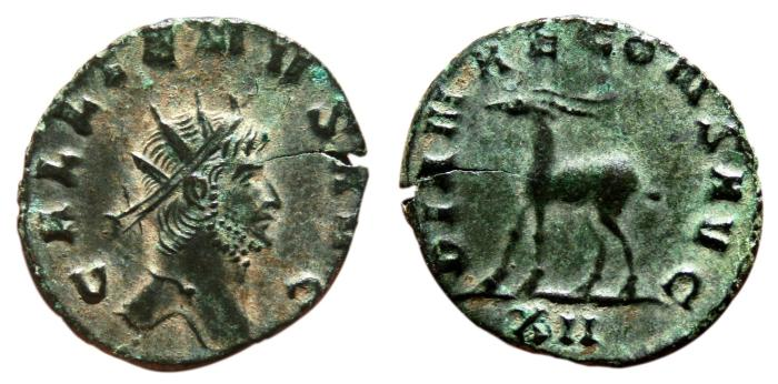 Ancient Coins - GALLIENUS Æ Antoninianus. EF-/VF+. Stag - DIANAE CONS AVG.