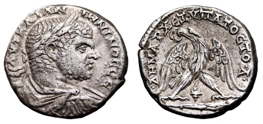 Ancient Coins - CARACALLA AR Tetradrachm. EF-/EF. Tyre mint. DRAPED BUST. Eagle, club and murex.