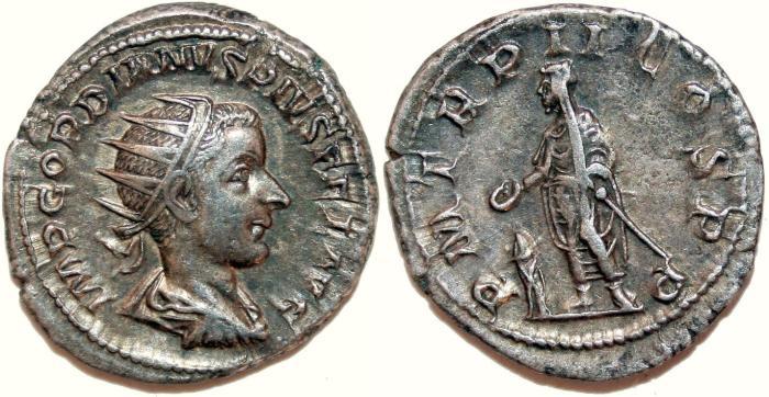Ancient Coins - GORDIANUS III AR Antoninianus. EF-. Emperor standing - P M TR P II COS P P