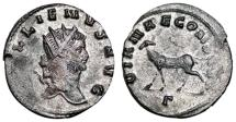 Ancient Coins - GALLIENUS Bi Antoninianus. VF+. Partially SILVERED. Antelope - DIANAE CONS AVG.