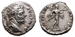 Ancient Coins - SEPTIMIUS SEVERUS AR Denarius. EF/EF-. P M TR P III COS II P P. Scarce and early (AD 195) issue.