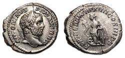 Ancient Coins - CARACALLA AR Denarius. EF/EF-. AD 211. The return to Rome.