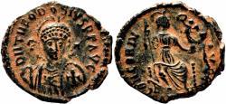 Ancient Coins - THEODOSIUS II AE3 (Nummus). EF-. Antioch mint. CONCORDIA AVGGG.
