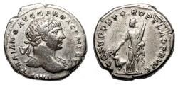 Ancient Coins - TRAJAN AR Denarius. EF-/VF+. Arabia and Camel.