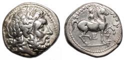 Ancient Coins - PHILIP II AR Tetradrachm. Amphipolis mint. VF+. E, T, Lambda and Torch.