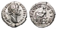 Ancient Coins - ANTONINUS PIUS AR Denarius. EF/VF+. Salus - TR POT XIX COS IIII.