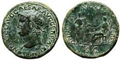 Ancient Coins - NERO AE Sestertius. EF. AD 64. ANNONA AVGVSTI CERES. Bust to left. Quality!