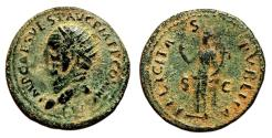 Ancient Coins - VESPASIAN AE Dupondius. VF. COS V - FELICITAS PVBLICA. Bust to left.