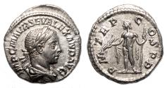 Ancient Coins - SEVERUS ALEXANDER AR Denarius. EF. Libertas. Early Issue: AD 222.