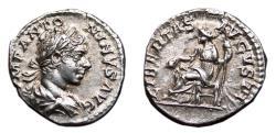 Ancient Coins - ELAGABALUS AR Denarius. EF. LIBERTAS AVGVSTI - libertas seated with cap and sceptre.