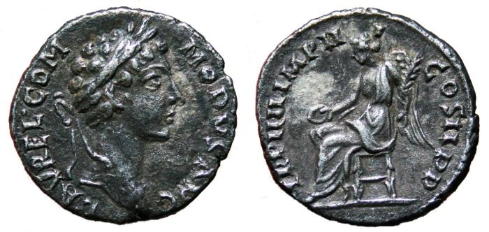 Ancient Coins - COMMODUS AR Denarius (joint reign with Marcus Aurelius). EF-. Young bust. Victory - TR P IIII IMP III COS II P P