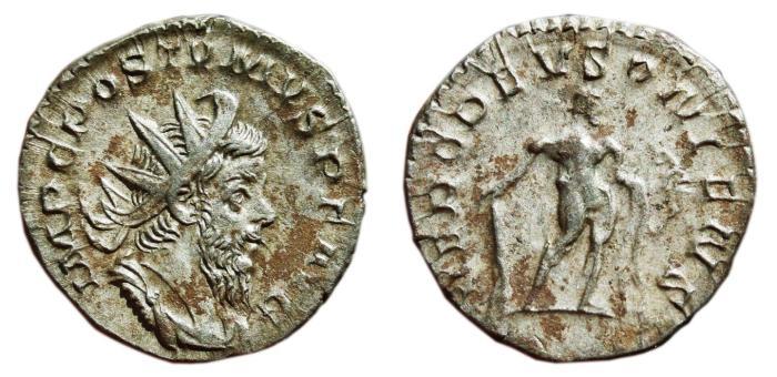 Ancient Coins - POSTUMUS AR Antoninianus. EF-/VF+. HERC DEVSONIENS. Scarce Reverse!