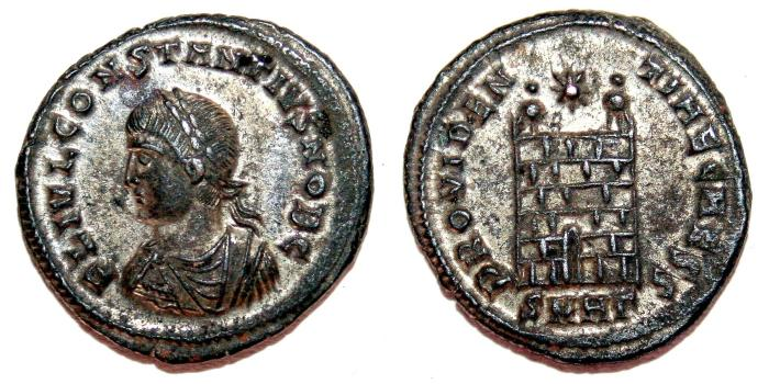 Ancient Coins - CONSTANTIUS II Bi Centenonial. EF/VF+. Heraclea mint. SILVERED. Camp Gate - PROVIDENTIAE CAESS.