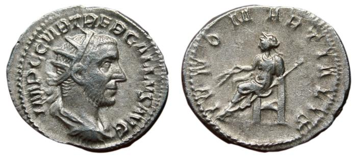 Ancient Coins - TREBONIANUS GALLUS AR Antoninianus. VF+. Mediolanum mint. IVNO MARTIALIS. Scarce Reverse.