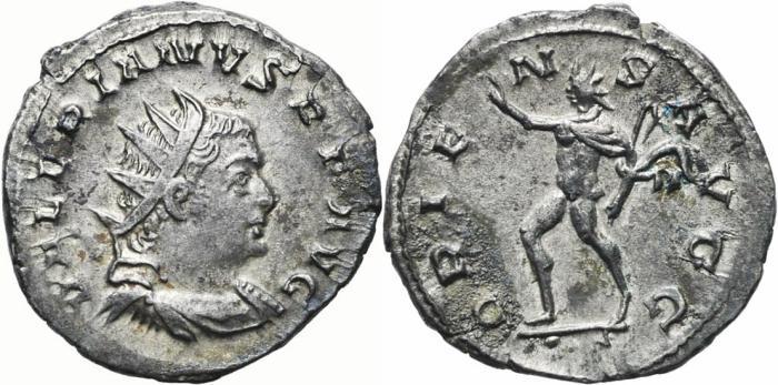 Ancient Coins - VALERIAN I AR Antoninianus. EF-. Lugdunum mint. ORIENS AVGG.