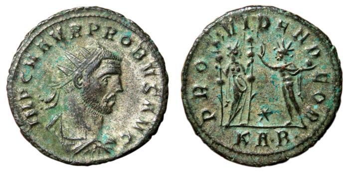 Ancient Coins - PROBUS Bi Antoninianus. Serdica mint. EF. PROVIDEN DEOR. Partially SILVERED. Scarce.