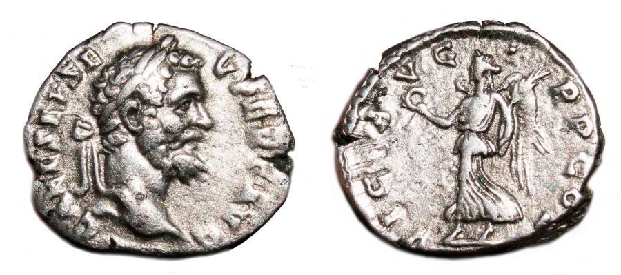 Ancient Coins - SEPTIMIUS SEVERUS AR Denarius. VF+. Very early issue (AD 193). VICT AVG TR P COS.